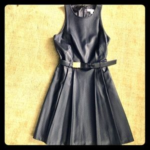 Michael Kors - Black faux leather belted dress.